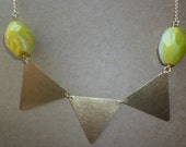 Statement necklace, bunting necklace, lemon agate and brass triangles