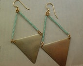 LAST PAIR Mint green and brass triangle earrings, statement