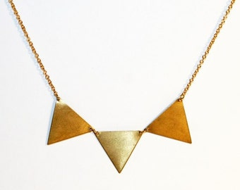 Bunting necklace, triple brass triangles