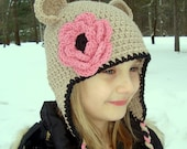 Girls Crochet Hat, Baby Girl Hat, Toddler Hat, Girls Crochet Ear Flap Hat, Ears and Ties, Custom Made in Your Color Choices, MADE TO ORDER