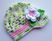 Crochet Baby Hat, Girls Crochet Hat,  Baby Girl Hat, Crochet Visor Beanie, White, Lime Green, Pink, Summer Hat, Crochet Visor, MADE TO ORDER