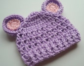 Crochet Baby Hat,  Crochet Beanie Hat with Ears,  Baby Girl Hat, Baby Hat, Hat with Ears, Lavender and Pink,  READY TO SHIP