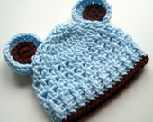 Baby Boy Hat, Crochet Baby Hat with Ears, Crocheted Infant Beanie Hat with Ears, Light Baby Blue and Chocolate Brown, MADE TO ORDER