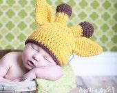 Baby Giraffe Hat, Baby Girl Hat, Baby Boy Hat, Infant Hat, Crochet Giraffe Hat, Baby Animal Hat, Giraffe Hat, 0-3 months, MADE TO ORDER