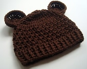 Mens or Womens Crochet Hat, Hat with Ears, Hand Crocheted Teen/Adult Beanie Hat with Ears, custom MADE TO ORDER in your color choice