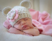 Baby Girl Crochet Hat, Crochet Baby Hat, Beanie Hat with ears and Flower, Baby Girl Hat, Newborn Hat, 0-3, 3-6 or 6-12 months, MADE TO ORDER