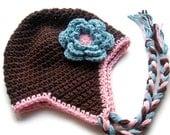 Crochet Baby Hat, Crochet Toddler Hat, Crochet Girls Hat,  Ear Flap Hat, Earflap Hat, Crochet Hat with Ties, Crochet Hat, MADE TO ORDER