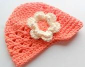 Crochet Baby Hat, Infant/Toddler Girls Crochet Visor Beanie, Coral and Cream, MADE TO ORDER