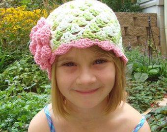 Crochet Hat, Crochet baby Hat, Crochet Toddler Beanie Hat, Lime Green, White, Rose Pink, MADE TO ORDER