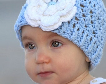 Crochet Baby Hat, Baby Blue, Sky Blue, Crochet Toddler Hat, Baby Girl Hat, Baby Girl Crochet Hat, Winter Hat, Summer Hat, MADE TO ORDER