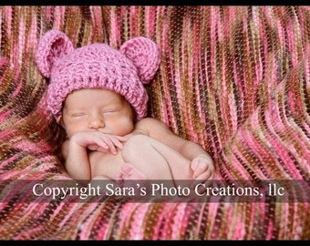 Crochet Baby Beanie Hat with Ears,  Baby Girl, Hat with Ears, Infant Winter Hat, Newborn Girl Hat, Rose, Dusty Rose Pink, MADE TO ORDER