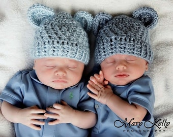 Baby Hat, Crochet Baby Hat, Newborn Crochet Hat, Infant Hat, Bear Hat, Set of Two, Baby Hat with Ears, MADE TO ORDER in your color choices