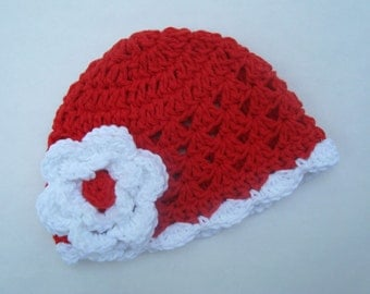 Baby Girl Hat, Flower Hat, Crochet Baby Hat, Red and White, Valentine Hat,  Toddler Crochet Hat, Toddler Winter Hat, Baby Hat MADE TO ORDER