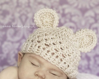 Crochet Baby Hat with Ears, Baby Girl, Baby Boy, Baby Hat, Crochet Hat, Teddy Bear Hat, Beanie Hat, Animal Hat, 0-3 months MADE TO ORDER