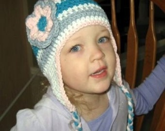Girls Crochet Hat, Baby Girl Hat, Winter Hat, Hat with Braids, Girls Cotton Crochet Earflap Hat, Beanie Hat with Ties, MADE TO ORDER