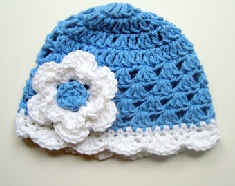 Girls Crochet Hat, Baby Girl Hat, Crochet Baby Hat, Blue and White Hat, Baby Girl, Crochet Hat, Winter Hat, Toddler Hat, MADE TO ORDER