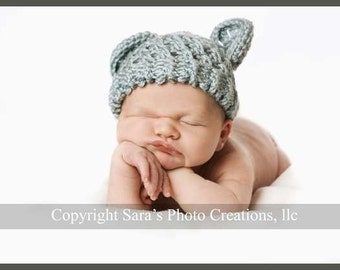 Crochet Baby Hat, Infant Winter Hat, Hat with Ears, Baby Boy Hat, Infant Winter Hat, Baby Hat, Newborn Hat, Country Blue, MADE TO ORDER