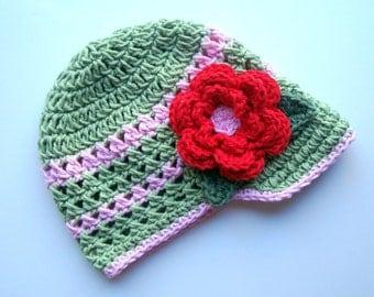 Baby Girl Hat, Toddler Girls Hat, Girls Visor Beanie Crochet Hat, Toddler Girl Hat, MADE TO ORDER. sage green, pink, red, Summer Hat, Visor