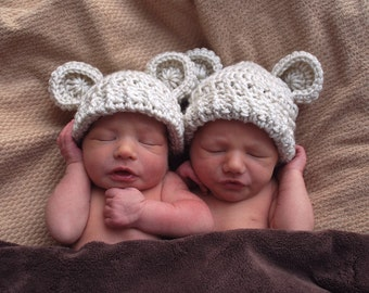 Baby Hat, Newborn Crochet Hat with Ears, Baby Girl Hat, Baby Boy Hat, Animal Hat, Baby Hat with Ears, Set of Two, MADE TO ORDER Color choice