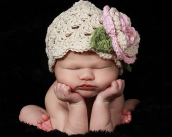 Baby Girl Crochet Hat, Baby Girl Hat, Crochet Baby Hat, Girls Crochet Hat with Flower, Girls Cotton Beanie Hat, Ecru, Pink, MADE TO ORDER