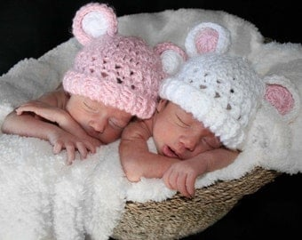 Adorable Crocheted Hat with Ears--Set of Two-- size 0-3 months - White and pink-MADE TO ORDER
