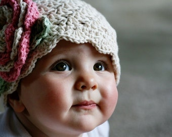 Crochet Baby Girl Hat, Crochet baby Hat, Infant Crochet Hat, Toddler Crochet Hat, Baby Girl, Crochet Hat, Ecru, Rose Pink, MADE TO ORDER