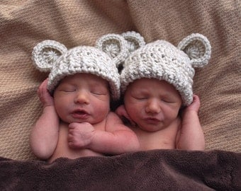 Crochet Baby Hat, Set of Two, Teddy Bear Hat,  Crochet Animal Hat,  Baby Hats for Twins, Newborn Crochet Hat, Hat with Ears, MADE TO ORDER