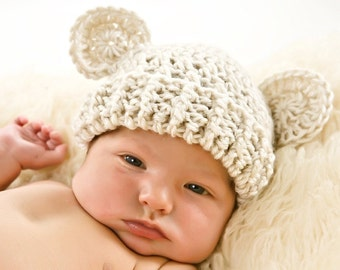 Crochet Baby Hat, Baby Girl Hat, Baby Boy Hat, Baby Hat, Infant Winter Hat with Ears, Crochet Baby Hat with Ears, 0-3 Months, MADE TO ORDER