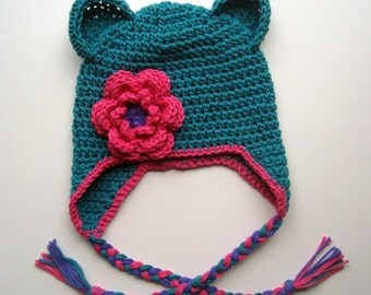 Crochet Baby Hat, Girls Cotton Crochet Ear Flap Beanie Hat with Ears and Ties, Girls Crochet Hat, Made in Your Color Choices, MADE TO ORDER