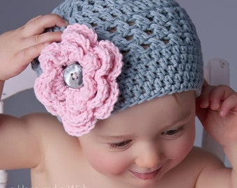Crochet Baby Hat, Toddler Crochet Hat, Baby Girl Hat, Winter Hat, Baby Girl, Beanie, Gray and Pink Hat,  Cotton Baby Hat, MADE TO ORDER