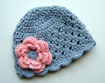 Baby Hat, Crochet Baby Hat, Toddler Hat, Gray and Pink, MADE TO ORDER in your size request