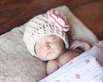 Baby Hat, Cream and Pink Hat, Toddler Hat, Baby Hat, Newborn Crochet Hat, Crochet Hat, Toddler Crochet Hat, Infant Winter Hat, MADE TO ORDER
