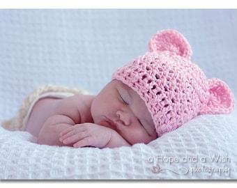 Crochet Baby Hat, Baby Girl Hat, Newborn Hat, Infant Crochet Hat, Baby Hat with Ears, Baby Girl Crochet Hat, Summer Hat, Pink, MADE TO ORDER