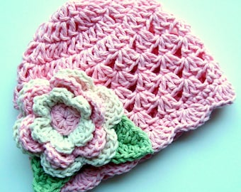 Baby Girl Hat, Baby Hat, Crochet Baby Girl Hat with Flower, Pastel Pink, Ecru, Sage Green-MADE TO ORDER
