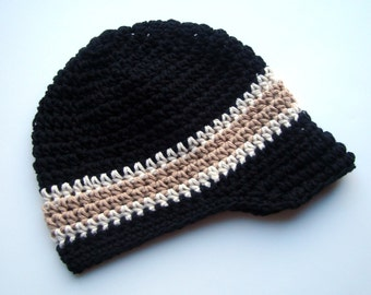 Boys Crochet Hat, Crochet Visor Hat, Boys Hat with Brim, Boys Summer Hat, Black, Ecru and Tan, Cotton Hat, Baby Boy Hat, MADE TO ORDER