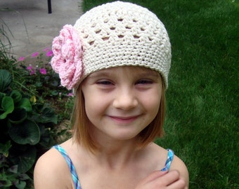 Crochet Baby Hat, Crochet Hat, Crochet Toddler Hat, Summer Hat, Winter Hat, Cotton Baby Hat, Pink and Ecru, MADE TO ORDER