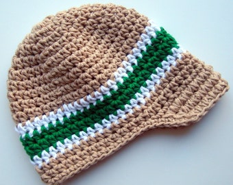 Boys Hat, baby Boy Hat, Boys Visor Beanie Hat, Baby Boy Hat, Boys Winter Hat, Boys Crochet Hat, Tan, White and Kelly Green, MADE TO ORDER