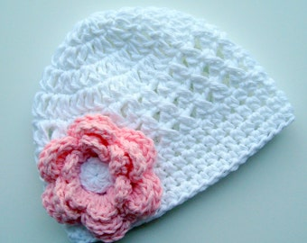 Baby Girl Hat, Crochet Baby Hat, Girls Crochet Hat, Girls Summer Hat, Hat with Flower, White and Pink, Cotton Sun Hat, MADE TO ORDER