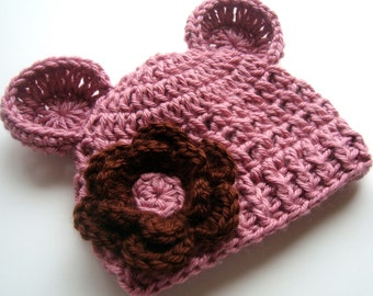 Adorable Crocheted Infant/Toddler Beanie Hat with Ears and Flower-Rose and chocolate-MADE TO ORDER