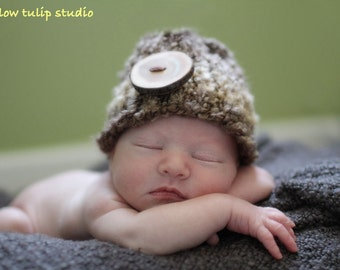 Baby Knit Hat, Newborn Knit Hat, Baby Girl Hat, Baby Boy Hat, Baby Knit Hat, Preemie Knit Hat, Photo Prop, MADE TO ORDER,  Brown with Button