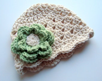 Baby girl Hat, Baby Hat, Crochet Baby Hat, Toddler Hat, Summer Hat, Winter Hat, Cotton Hat, Ecru and Sage Green, MADE TO ORDER