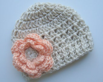 Crochet Baby Hat, Girls Crochet Hat, Crochet Baby Beanie Hat With Flower, Baby Girl Hat, Winter Hat, Oatmeal and Light Peach, MADE TO ORDER