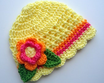 Crochet Baby Girl Beanie Hat, Crochet Flower Beanie Hat, Yellow, Hot Pink, Bright Orange, Lime Green, MADE TO ORDER