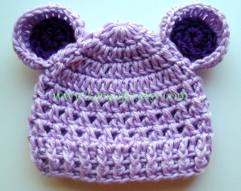 Crochet Baby Hat with Ears, Baby Girl Hat, Baby Boy Hat, Infant Winter Hat, Hat with Ears,  Baby Hat, Lavender and Plum Purple MADE TO ORDER