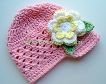 Girls Crochet Hat, Sun Hat, Baby Hat, Crochet Visor Beanie Hat, Light Pink with Yellow and White Flower and Sage Green Leaves, MADE TO ORDER