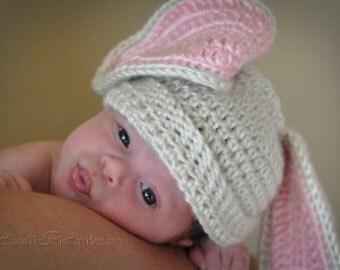 Baby Crochet Bunny Hat, Crochet Bunny Hat Boy or Girl, 0-3 months-Great photo prop or shower gift-MADE TO ORDER
