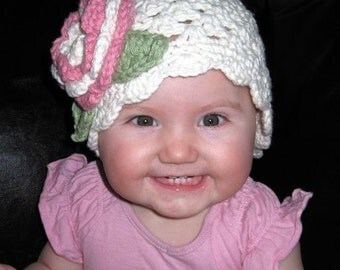 Baby Girl Hat, Crochet Baby Hat, Newborn Beanie Hat, Hat with Flower, Girls Crochet Hat, Toddler Crochet Hat, Ecru, Rose Pink, MADE TO ORDER