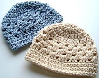 Crochet baby Hat, Crochet Toddler Hat, Set Of Two, Plain Cotton Crochet Beanie Hats-Made to order in your size and color  choices