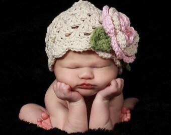 Crochet Baby Hat, Baby Girl Hat, Baby Beanie Hat, Crochet Baby Hat for Girls, Infant Winter Hat, Summer Hat, Baby Hat, Pink and Ecru