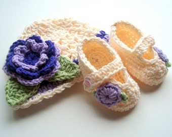 Baby Girl Hat, Baby Booties, Crochet Hat and Booties Set, Newborn Hat and Booties, Mary Jane Booties, Cream, Lavender, Purple, MADE TO ORDER